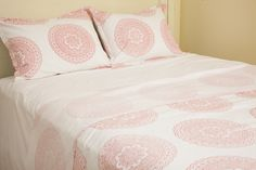 Luxury Bedspreads - Floral Bed Sheets - Flat Sheets Queen - Pink Twin Sheets - Hand Block Printed from Attiser Country Bedding Sets, Coastal Bedding, Pink Bedding, Luxury Bedding, Comforter, Queen Sheets, Bed Sheets, Flat Sheets, Luxury Bedspreads