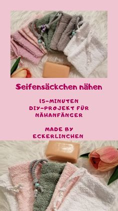 Wie du in 15 Minuten Seifensäckchen nähst Sewing soap bags are a great DIY PROJECT for beginners. With these little bags you can completely use up your little soap bars. They also cut a fine figure as gifts or souvenirs. Diy Projects For Beginners, Knitting For Beginners, Knitting Patterns Free, Free Pattern, Sewing Patterns, Knitting Projects, Sewing Projects, Knitting Ideas, Accessoires Barbie