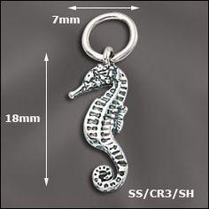 WJ  SS/CR3/SH | STERLING SILVER CHARM - SEA HORSE