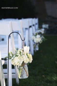 Wedding/ Mason Jar ideas/ bouquet flowers/ outside