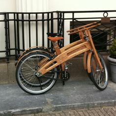 Wooden bicycle in Amsterdam