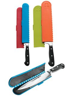 Store them in a drawer? Yes! Magnetic Knife Guards protect blades.  Great idea for all those chef knives in the drawer.
