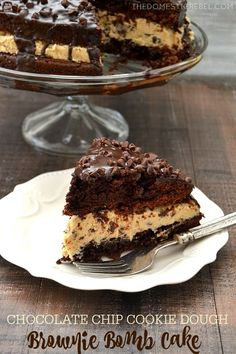 This Chocolate Chip Cookie Dough Brownie Bomb Cake is a fun twist on my signature dessert! Two fudgy brownie cake layers are sandwiched around egg-free chocolate chip cookie dough and topped with chocolate ganache! So easy and impressive! Cookie Dough Brownies, Brownie Cake, Chocolate Chip Cookie Dough, Oreo Dessert, Dessert Recipes, Dinner Dessert, Cheesecake Recipes, Recipes Dinner, Mini Desserts