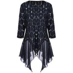 Plus Size Panel Lace Handkerchief Top - BLACK XL