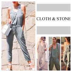 """Anthropologie Cloth & Stone Jumpsuit.  NWOT. Anthropologie Cloth & Stone Drawstring Racerback Jumpsuit, 100% tencel, machine washable, 17.5 armpit to armpit (35"""" all around), 31"""" drawstring waist which stretches up to 36"""", 8"""" front rise, 12.5"""" back rise, 19"""" arm inseam, 28.75"""" leg inseam, 57"""" length, 12.5"""" leg opening all around, racerback, straight leg fit, one breast pocket, two side pockets, pull on style, four front button closure, drawstring waist, measurements are approx. New without…"""