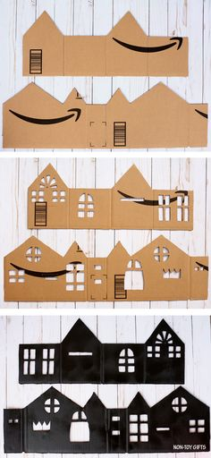 Cardboard Haunted House Lights To Make For Halloween - DIY Cardboard Haunted House Luminaries . - Cardboard Haunted House Lights To Make For Halloween – DIY Cardboard Haunted House Luminaries Pro - Cardboard Box Houses, Cardboard Box Crafts, Cardboard Castle, Wooden Crafts, Halloween Paper Crafts, Manualidades Halloween, Diy Halloween Decorations Scary, Casa Halloween, Halloween Haunted Houses