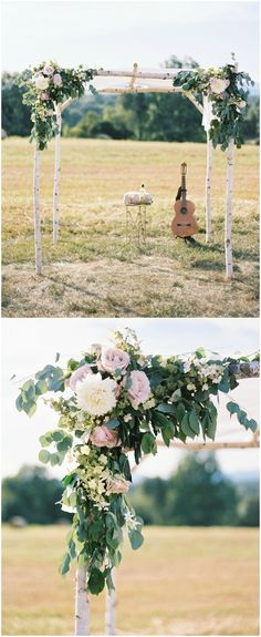 Ceremony arbor, birch wood, blush roses, greenery, farm wedding, guitar, Virginia // Kate Ignatowski Photography