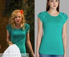 Liv Rooney (Dove Cameron) wears this green ruffle sleeve top in this week's episode of Liv & Maddie. It is theTed Baker Anissa Floral Applique Tee in Green. Sold out.