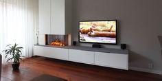 elektrisch hip & happening woonkamer modern inbouw wit rechthoekig hoek plateau Home Interior Design, Decoration, Sweet Home, House Design, Living Room, Inspiration, Home Decor, Style, Log Burner
