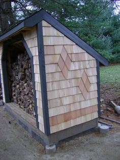 You want to build a outdoor firewood rack? Here is a some firewood storage and creative firewood rack ideas for outdoors. Outdoor Firewood Rack, Firewood Shed, Firewood Storage, Lumber Storage, Log Shed, Wood Storage Sheds, Wood Shed Plans, Wood Store, Backyard Sheds