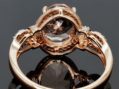 2.00ct Oval Cor-de-rosa Morganite(Tm) With .21ctw Round White Diamonds 10k Rose Gold Ring