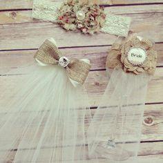 Burlap shabby chic bridal shower accessory set- burlap veil, burlap wine glass garter, floral lace garter - country vintage chic  on Etsy, $42.00