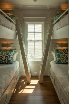 SallyL: Geoff Chick - Pefect sleepover space. Bunk style beds with chuncy wooden ladder and ...