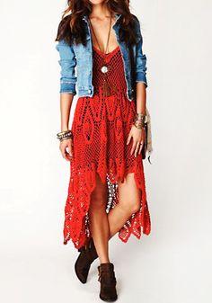 Boho Crochet Maxi Dress - Red - Sexy Deep V-neckline Dress