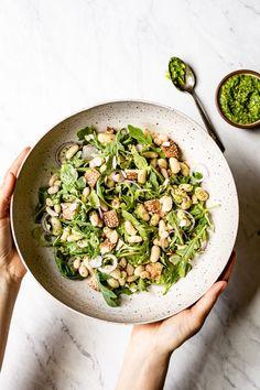 Warm White Bean Arugula Salad Recipe - Arrugula and almond pesto mixed in to create a delicious Cannelini bean salad recipe. Arugula Salad Recipes, Bean Salad Recipes, Healthy Salad Recipes, Vegetarian Recipes, Healthy Foods, Yummy Recipes, Soup Recipes, Five Bean Salad, Gourmet