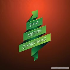 Free 2014 Merry Christmas green ribbon background vector  vector download