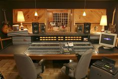 I love the very wooden look of this studio. Also, make some or all lights dimmable with faders on a wall panel so musicians might be able to draw some inspiration from the mood of the dimmed lights.