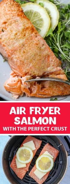 An easy protein that is great to add to anything, this air fryer salmon is easy to make and only takes 15 minutes. This salmon has a delicious crust with a juicy center, it is a healthy and easy lunch for any summer night. Air fryer salmon is perfect for any summer because it is light and doesn't take a lot of effort to make. #airfryersalmon #salmon