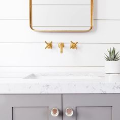 We wouldn't mind powdering our noses in this cute powder room by 📸 by Shiplap Bathroom, Outdoor Material, Floor Patterns, Warm Grey, Powder Room, Tile Floor, Vanity, Photo And Video, Mirror