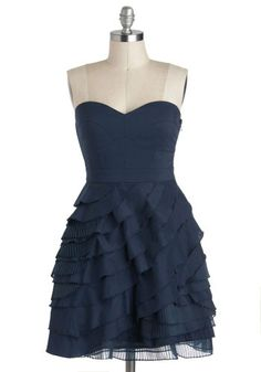 Baklava Beauty Dress in Blueberry - Best Seller, Short, Blue, Ruffles, Tiered, Wedding, Party, Strapless, Solid, A-line, Sweetheart, Holiday Party, Vintage Inspired, Formal, Prom, Bridesmaid