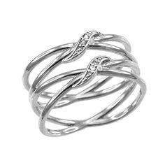 Ladies 10k White Gold DiamondAccented Double X CrissCross Long Ring Size 575 >>> Check out this great product.Note:It is affiliate link to Amazon.