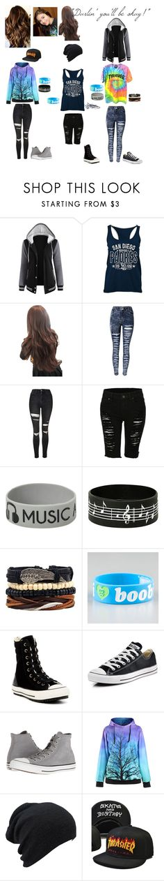 """Victoria Fuentes/Pierce The Veil Gender Bender Of Vic Fuentes Set"" by serenity-sempiternal2006 ❤ liked on Polyvore featuring GURU, Topshop, LE3NO, Keep A Breast and Converse"
