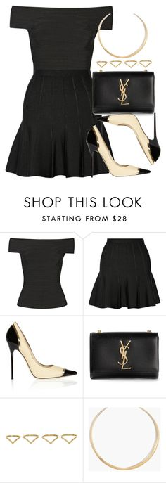 """Style #10200"" by vany-alvarado ❤ liked on Polyvore featuring Hervé Léger, Jimmy Choo, Yves Saint Laurent, Ana Khouri and Madewell"