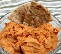 Roasted Red Pepper Hummus--with Homemade pitas!