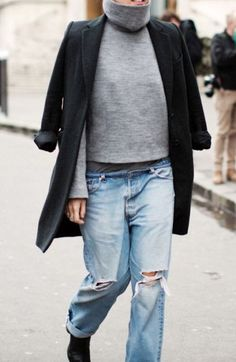 Baggy grey turtleneck, black trench coat and ripped boyfriend jeans