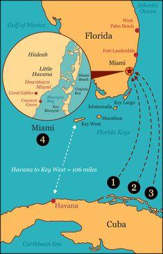 Map showingJourney to Miami