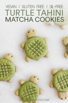 Matcha Turtle Tahini Cookies vegan gluten free oil free Healthy and cute matcha turtle tahini cookies Vegan dairy free nut free gluten free and refined sugar free Great for a snack or for dessert Matcha Cookies, Cookies Vegan, Healthy Cookies, Healthy Vegan Desserts, Vegan Dessert Recipes, Vegan Sweets, Paleo, Healthy Gluten Free Snacks, Sugar Free Vegan Desserts