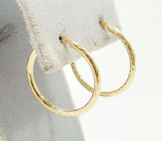 10k Solid Gold Hoop Earrings Classic Design Stunning Diamond Cut Free Shipping #Hoop