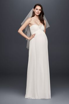 Flowy and flattering, this strapless chiffon maternity wedding gown keeps your bump comfy and your day glam. Detailed with a pleated bodice and beading at the sweetheart neckline. David's Bridal Collection Polyester Sweep train Back zipper; fully lined Dry clean Imported