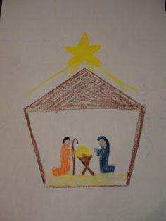 Christmas Metal Inset - Pentagon Nativity sene