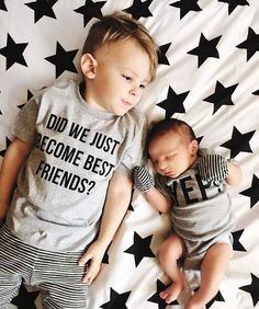 Ace needs a baby sibling! These shirts are perfect.Matching Best Friend Tees Twins Did We Just Become Best Friends? Siblings pregnancy announcement BFF ADD 2 for a SET brothers sisters Baby Boys, Baby Boy Newborn, Baby Birth, Newborn Care, Baby Number 2, Baby Boy Romper, Everything Baby, Baby Kind, Baby Fever