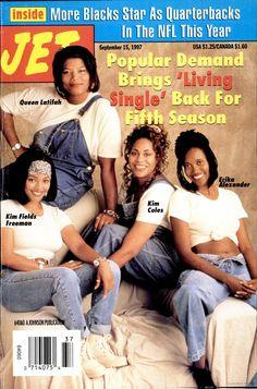 living single show ; living single show fashion ; Jet Magazine, Black Magazine, Ebony Magazine Cover, Magazine Covers, Black Sitcoms, Black Tv Shows, Living Single, Vintage Black Glamour, Black History Facts