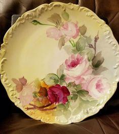 """Antique T & V France Tressemann & Vogt Limoges Plate Roses 12.5"""" #Limages"""
