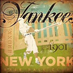 New York Yankees Baseball Ball Club original graphic art on canvas collage measures 16 x 16 by gemini studio. $120