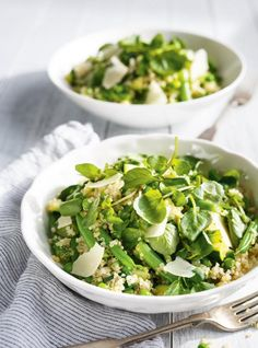 Recette de Ricardo de salade de quinoa aux légumes verts