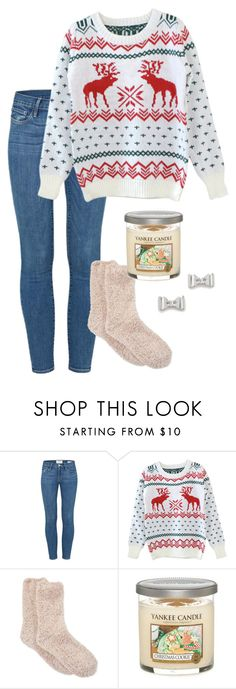 """""""Kinda in the xmas spirit"""" by highheel-hannah ❤ liked on Polyvore featuring Frame Denim, Charter Club, Yankee Candle and Marc by Marc Jacobs"""