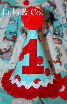 Basic party hat in Dr. Seuss inspired red & aqua dots