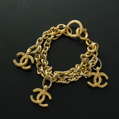 #Chanel gold tone #bracelet. Available at lxrco.com for $499