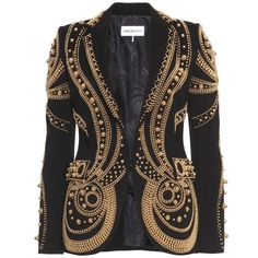 Emilio Pucci Metallic Bead Embroidered Blazer ($3,989) ❤ liked on Polyvore