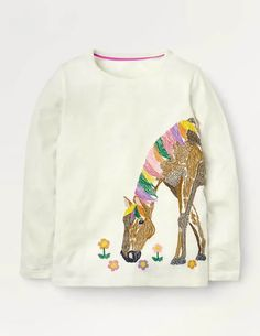 Superstitch Animal T-shirt - Ivory Horse. Superstitch Animal T-shirt.Ivory Horse.Frolics in the forest are all the more fun thanks to the furry friends on this long-sleeved top. Choose from a range of playful designs, intricately embroidered with animal pals. Made from warm jersey, this piece is a supersoft and snuggly partner for cosy adventures.