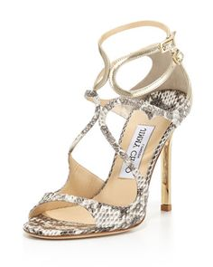 Lang+Metallic+Snake+Strappy+Sandal,+Natural/Light+Platinum+by+Jimmy+Choo+at+Neiman+Marcus.