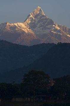 Dawn at Machapuchare, Nepal; photo by Walter Quirtmair