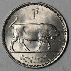 1954 IRELAND SHILLING Irish Coin BULL