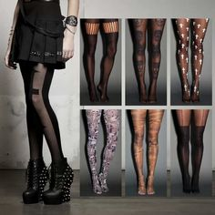 Tights at hot topic  Pinning because of the whole outfit on the left.  Lovely outfit and nice model for it.