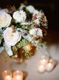 Pink Flower and Dusty Miller Centerpiece   photography by http://www.aliharperphotography.com/