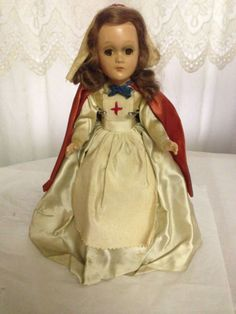"1930s 11"" Unmarked Composition Antique Nurse Doll"